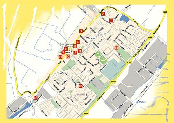 Kunst in Workum plattegrond deelnemers