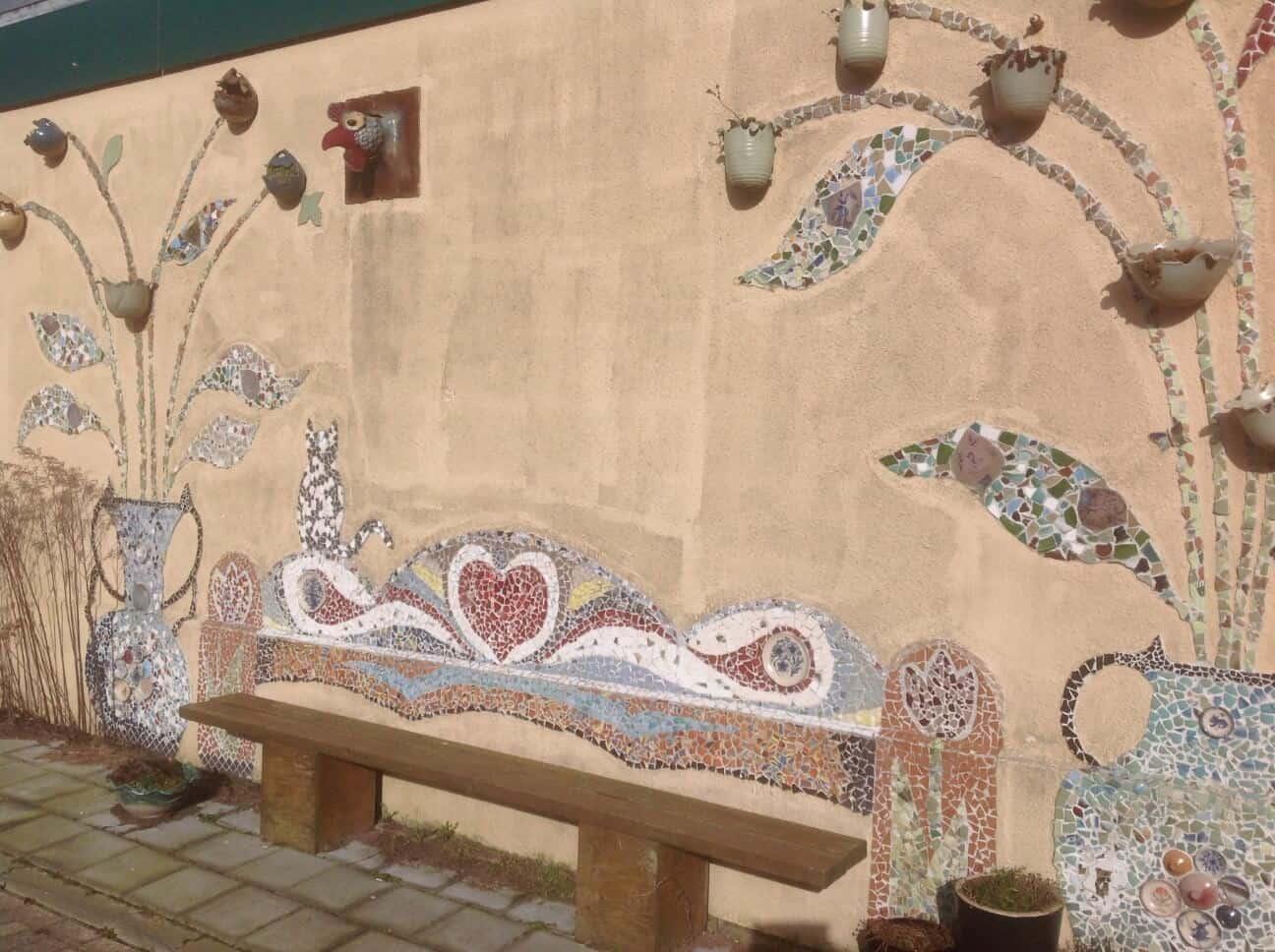 Fantasie mozaiek muur
